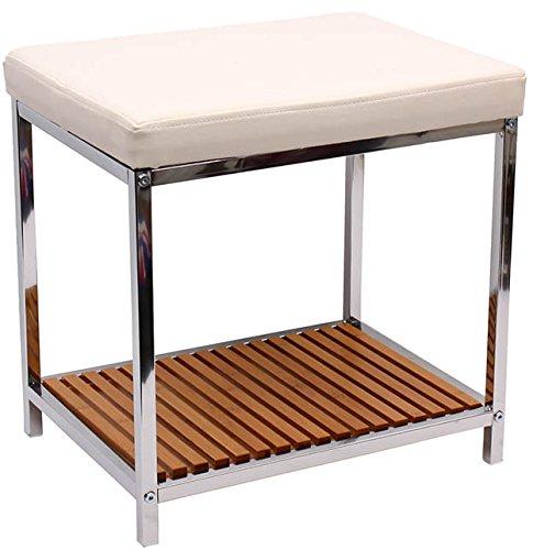 Büro Fusshocker Hocker Badhocker NEU Chrome Sitzhocker Bambus Ablage
