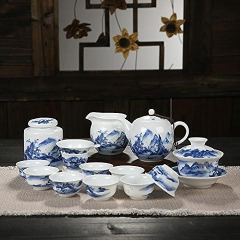 Yifom servire tè pentola porcellana set da tè con ceramiche dipinte a mano di pacchetto blu e bianca porcellana set da tè