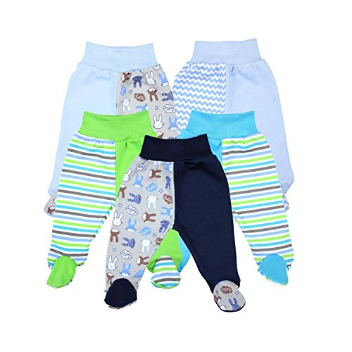 TupTam Unisex Baby Hose mit Fuß Bunte Strampelhose 5er Pack, Farbe: Junge, Größe: 74