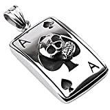 Bungsa Kettenanhänger Totenkopf Ass Skull Poker Casino Ace Spades Edelstahl Silber Schwarz (Pendant Anhänger Charm Beads Chirurgenstahl Damen Herren Schmuck)