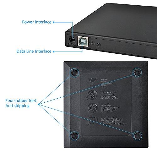 Unidad Óptica DVD/ CD Externa Portátil de VicTsing USB, Función de Grabadora de CD, Incluye 2 Cables - Negro