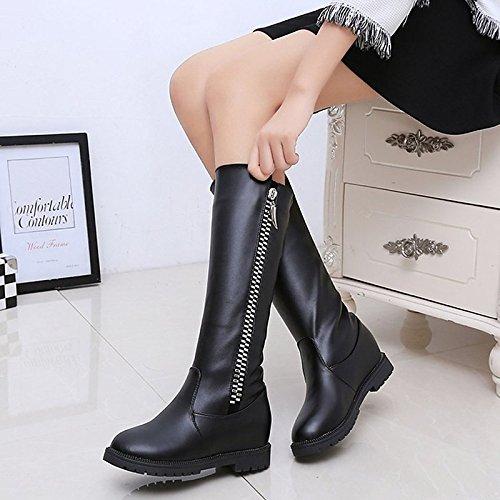 HSXZ Scarpe donna pu Autunno Inverno Comfort stivali Null tacco basso punta tonda Mid-Calf Stivali / per Casual Nero Marrone Black