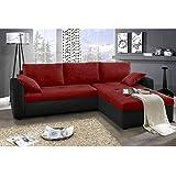 JUSThome Focus Sofá esquinero chaise longue función de cama Tejido / Cuero sintético Tamaño 142x239x93 cm 1114 Negro / L-20 Brazo derecho