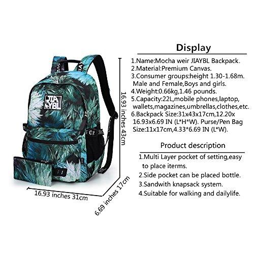 Mocha weir JIAYBL Laptop Taschen Schultern Kinder Schultaschen Rucksack Hochschule Mädchen Canvas Pack reisen (rot verlässt) grün