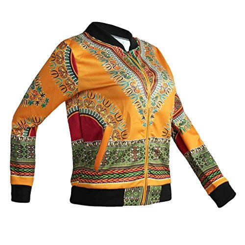 Minzhi Bomber da motociclista classico con cerniera lampo moda donna stampa africana con soprabito a manica lunga con stampa floreale Giallo