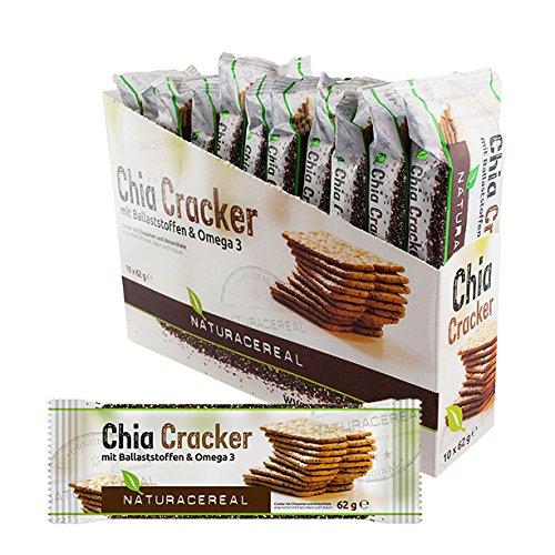Chia Cracker Naturacereal - Galletas de Chia con fibras & Omega 3, 1 Paquete (10 x 62 g)
