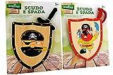 Globo Toys Globo 37559 - Juego de 2 legnoland Pirata con Escudo de Madera y Espada (Talla única)