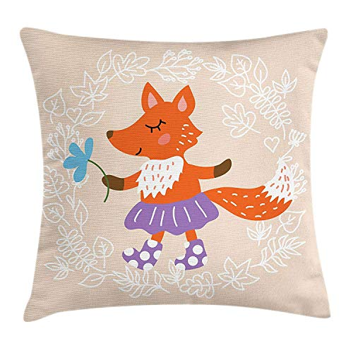 Yinorz Kids Throw Pillow Cushion Cover, Fox with Skirt and Polka Dotted Socks Holding a Flower on a Pastel Toned Background, Decorative Square Accent Pillow Case, 18 X 18 inches, Multicolor -