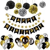 Geburtstag Dekoration Set Happy Birthday Geburtstag Dekoration Set Party Dekorationen Kit mit 1 HAPPY BIRTHDAY Banner + 9 Tissue Papier Pom Poms + 30 Ballons + 20 Stern Ornamente Party Supplies für Kinder und Erwachsene