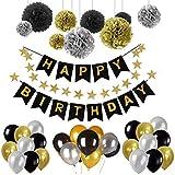 """Kit Decorazione Festa di Compleanno, Bandierine di Buon Compleanno """"Happy Birthday"""" + Set di 9 Pompon a fiore + 1 Stella Arcobaleno + Confezione di 30 Palloncini, Ideale per Decorazioni di Party"""