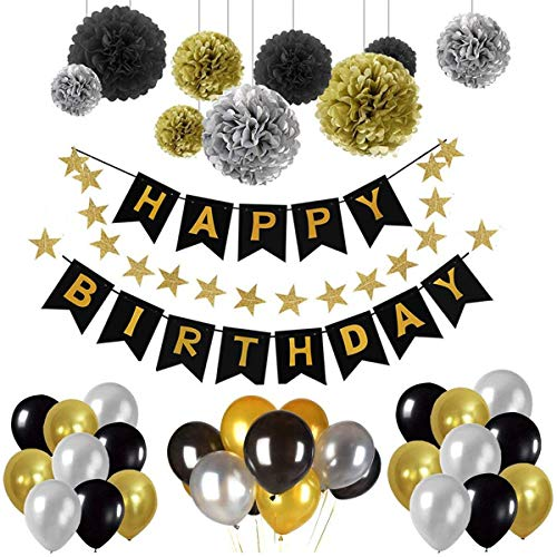 Geburtstag Dekoration Set Happy Birthday Geburtstag Dekoration Set mit 1 HAPPY BIRTHDAY Banner, 9 Tissue Papier Pom Poms, 30 Ballons, 20 Stern Ornamente Party Supplies für Kinder und Erwachsene