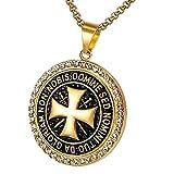 BOBIJOO Jewelry - Collar Colgante Templario De Acero Chapado En Oro Zirconia Cúbico De La Cruz De Oro Non Nobis + Cadena
