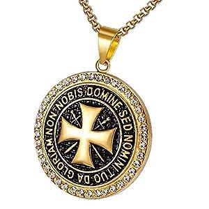 BOBIJOO JEWELRY – Anhänger Halskette-Templer Stahl Vergoldet Zirkonia Goldenes Kreuz, Nicht Nobis + Kette