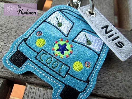 HIPPIEBUS mit Namen personalisierbar Schlüsselanhänger Taschenanhänger tolles kleines Geschenk Bus Wohnmobil Camping -