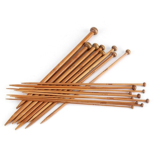 Agujas de Punto de Bambú Kit de Tejer Agujas de Madera Punta...
