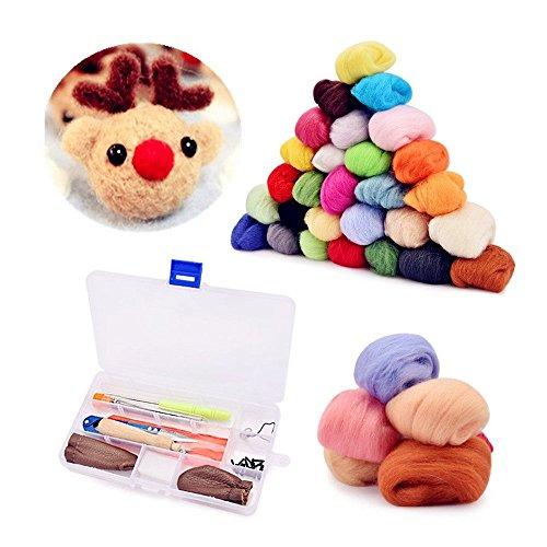 byou Filzwolle Set,Nadel Filz Wolle Kits 36 Farben 3g Filzwolle Märchenwolle mit Werkzeug in Kunststoffbox für Nassfilzen und Trockenfilzen Nadel Filz DIY Handwerk -