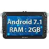 Pumpkin Android 7.1 Autoradio Moniceiver für VW Polo Golf Passat mit GPS Navi Unterstützt Bluetooth DAB+ Android Auto WLAN 4G USB MicroSD 2 Din 8 Zoll Bildschirm