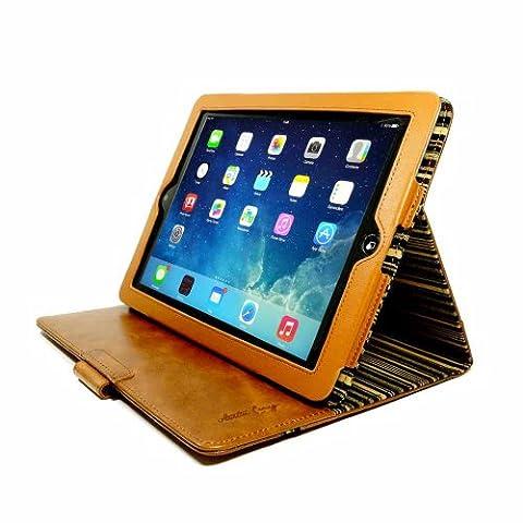 Alston Craig Personnalisé (Par exemple un nom ou une inscription de votre choix) Cuir veritable Vintage Slim-stand étui housse pour Apple iPad Air 2 - (Fonction Sleep) -