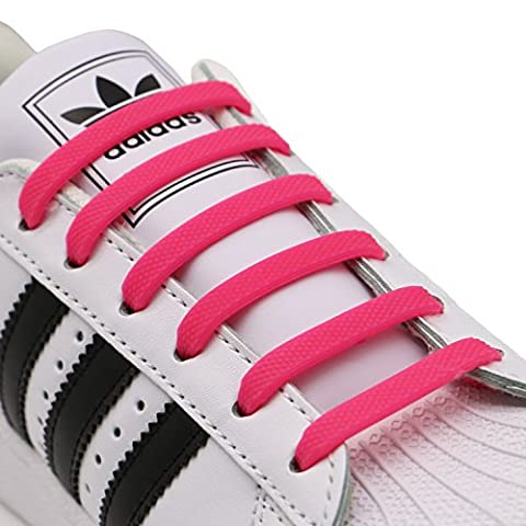 INMAKER No Tie Laces for Kids and Adults, Silicone Flat Shoe Laces for Trainer, Elastic Waterproof Tieless Running Shoe Laces (M/Pink)