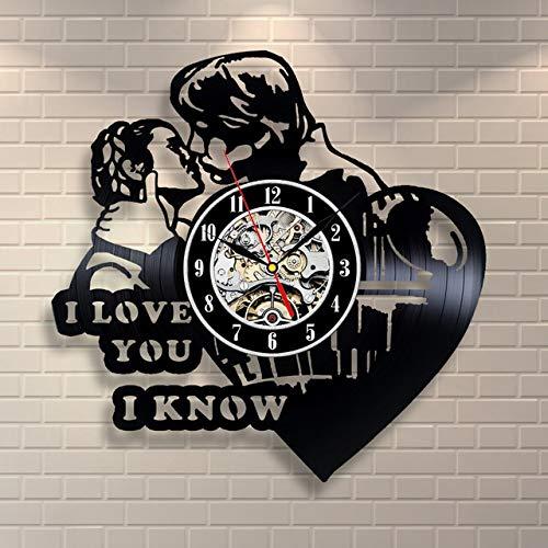 Mtye Prinzessin Leia Han Solo ich Liebe Dich Vinyl Record Clock Home Decor Wandkunst Duvar Saati
