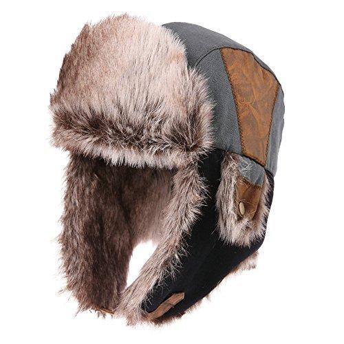 SIGGI graue warme Baumwolle Trappermütze Bomber Hut Unisex Fliegermütze Fellmütze Erwachsenen für ()