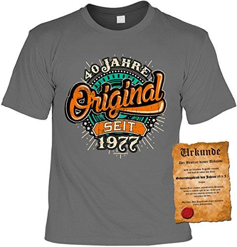 Lustiges Geburtstagsgeschenk Leiberl für Männer T-Shirt mit Urkunde 40 Jahre Original seit 1977 Leibal zum Geburtstag Anthrazit