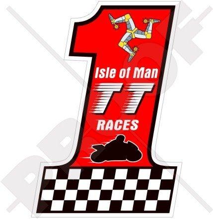Isle Of Man TT Race Nombre 1 moto GP Mannois 10,2 cm (100 mm) en vinyle bike-helmet Sticker, autocollant