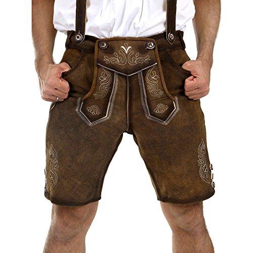 Almbock Lederhose Herren braun | Tracht Lederhose kurz aus antikem Nubukleder | Lederhose kurz urig | bayrische Lederhose - Lederhose kurz Herren 58