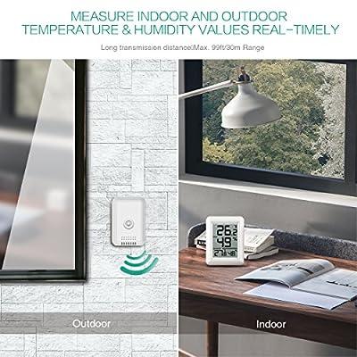 ORIA Raumthermometer Zimmerthermometer, Innen Thermometer Hygrometer Temperatur und Luftfeuchtigkeit Monitor von Oria auf Du und dein Garten
