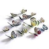 MINIDF 12 Simulationsschmetterlinge, Schmetterlingswandaufkleber, Fensterhochzeitsdekoration, Handwerk, Künstliche Schmetterlingsverzierungen, 3D-Gold