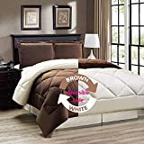 "AVI Newly Design Reversible Style 200 GSM Microfiber AC Comforter/Duvet/Quilt for Double Bed - (90""x 100"") inches, Brown & White"
