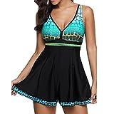 Damen Einteiliges Bademode Kleid Plus Size Rock Nylon Bademode Beachwear