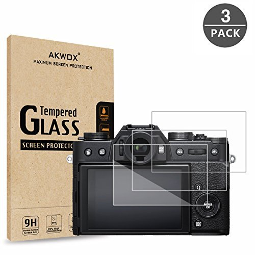 [3 Unidades] Protector de Pantalla para Fujifilm X-T20 X-T10 X-A1 X-A2 X-M1 X-E3 X 30 AKWOX [9H Dureza] Cristal Vidrio Templado para Fujifilm X-T20 X-T10 X-A1 X-A2 X-M1 X-E3 X 30 Cristal Templado