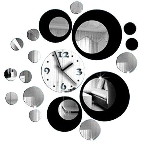 SODIAL Pegatina pared efecto espejo reloj / pegatinas