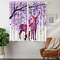 YISUMEI - Thermal Insulated Blackout Curtain Material Ring Top Curtain for Bedroom Livingroom - Purple Deer Branch Ornaments - 110 x 160 cm (WxD) 2 Panels