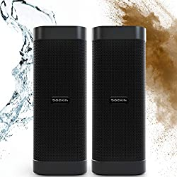 DOCKIN D Mate 2x25 Watt Haut-Parleurs Bluetooth, Enceintes Portable sans Fil, Usage Extérieur, Autonomie 16hrs, 6,700mAh Charge pour Votre Téléphone, Étanche IPX6, Mode Stéréo, Engineered in Germany