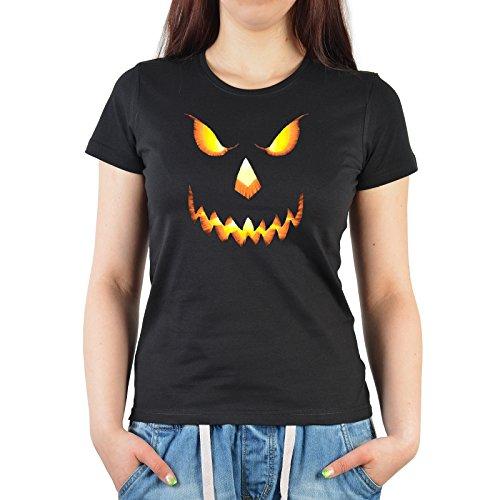 Damen, Girlie T-Shirt perfekt für Halloween - böses Kürbis Gesicht - Gruselshirt