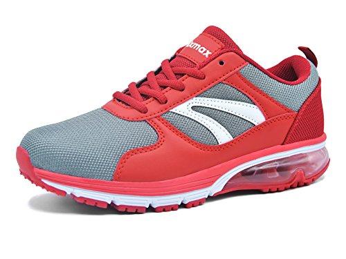 Knixmax Damen Sportschuhe Air Turnschuhe Outdoor Fitness Trekking Running Sneaker Leichte Laufschuhe Schwarz Grau Blau Light Blau Rot 36-41EU red-4