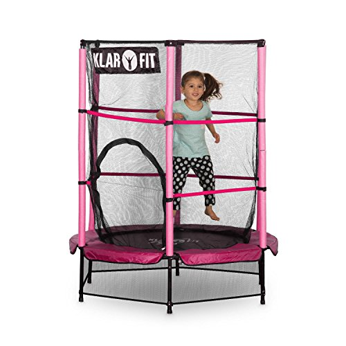 Klarfit Rocketkid Trampolin Gartentrampolin (140 cm Durchmesser, verschließbares Sicherheitsnetz, Bungeeseil-Federung, bis max. 50 kg belastbar, Stangen gepolstert) pink