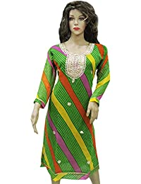 Ratnatraya Leheriya Cotton Silk Green Kurti For Women | Party Wear Designer Straight Kurtis For Girls And Gift