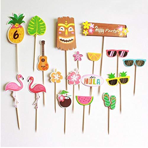 Zonster 18pc Bunte Hawaii Ananas Gläser Flamingo Partei-Kuchen Bachelorette Party Alles Gute zum Geburtstag Dekoration Baby Shower