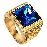 Vendimia Zafiro Anillos De Piedras Preciosas De Los Hombres De La Joyería De Acero Titanio del Oro 24K,Azul,Taglia 20