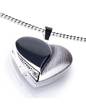 Anhänger Medaillon Herz mit 1 Zirkoniastein weiß zum öffnen 925/- Sterling Silber 20 x 20 mm, Panzerkette inkl...