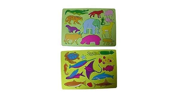 Land Elefant Affe Malschablone Stencil Tiere 2x Kinder Zeichenschablone Wasser Delphin