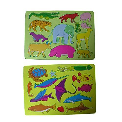 2x Kinder Zeichenschablone Wasser Delphin + Land Elefant Affe Malschablone Stencil Tiere