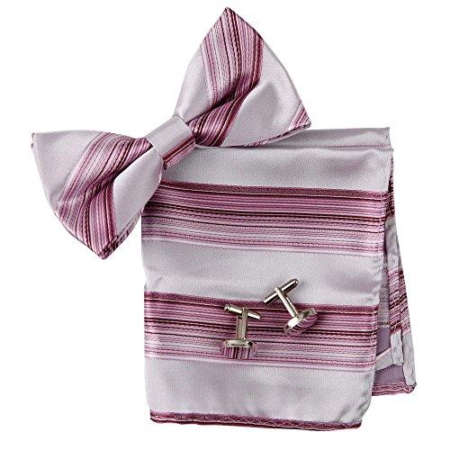 BT2069 Rosa Streifen-Abend-Entwerfer-ausgezeichnetes Gewebe-Silk Vor-gebundenes Bowtie Manschettenkn?pfe Hanky ??Geschenke f¨¹r M?nner durch Epoint (Herren Trachten Australien)
