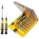 QQPOW Schraubendreher Set Magnetschraubendreher-Set mit Präzisions-Magnet-Schraubendreher Bits Set Repair Tool für kleine elektronische Geräte wie Handy, Tablet, PC, Laptop, Uhr, Gläser (45 in 1)