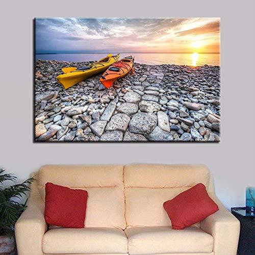 YGKDM Home Wandkunst Dekor Leinwand HD Print Poster 1 Stück/Stücke Sonnenuntergang Stein Straße Kajak Boot Seascape Malerei Ruderboot Bilder Rahmen 50 cm x 75 cm x 1 stücke Rahmen