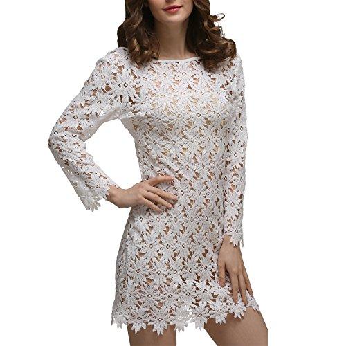 Damen Langarm Rundkragen Spitze Häkeln Hohl Loose Elegant Kleid Beachwear Minikleid Spitzenkleider Strandkleider Stil:2