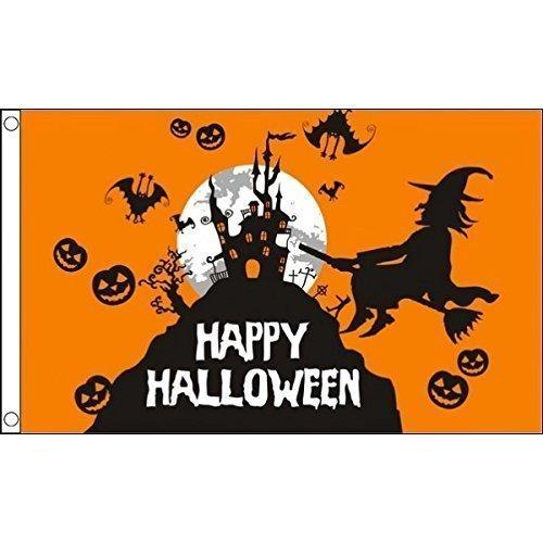1.52 x meters 0.91 meters (150 cm x 90 cm) und Happy Halloween Hexe Besen Kürbis Orange, 100% Polyester, Material Fahne Flagge Banner, Ideal für Pub, Club, Schulfest Business Party-Dekoration